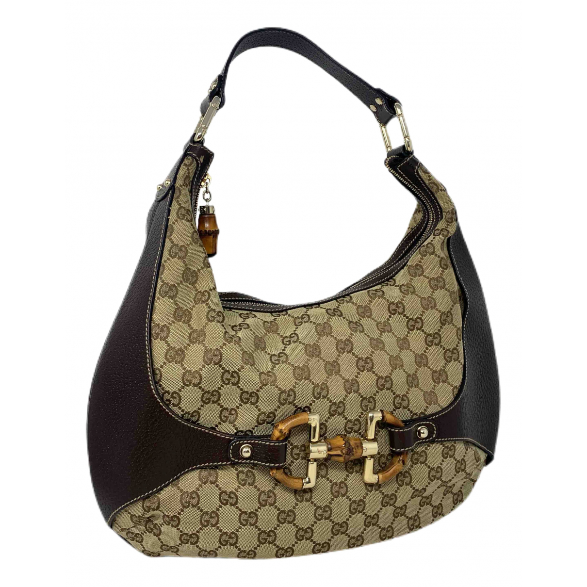 Gucci Bamboo Handtasche in  Beige Leinen