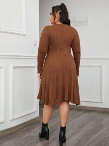 Plus Asymmetrical Hem Cable Knit Dress