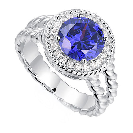 Womens 2 1/5 CT. T.W. Multi Color Cubic Zirconia Sterling Silver Round Halo Cocktail Ring, One Size , No Color Family