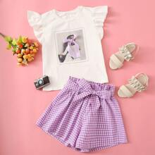 Girls Ruffle Armhole Figure Graphic Knotted Top & Belted Gingham Shorts Set