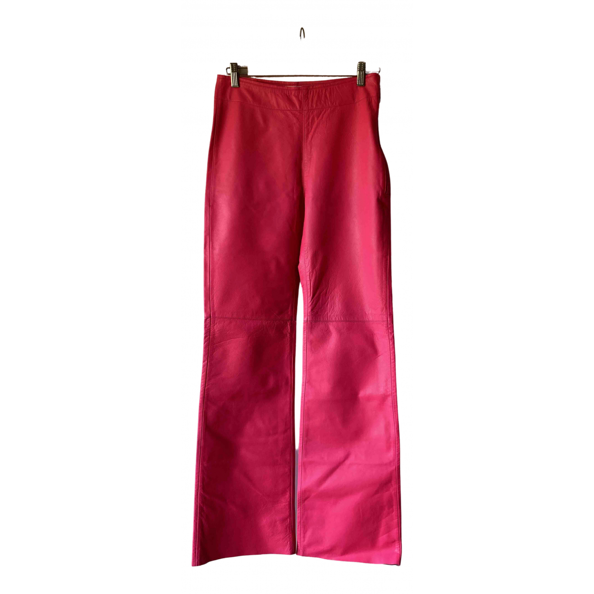 H&m Studio \N Pink Leather Trousers for Women 38 FR
