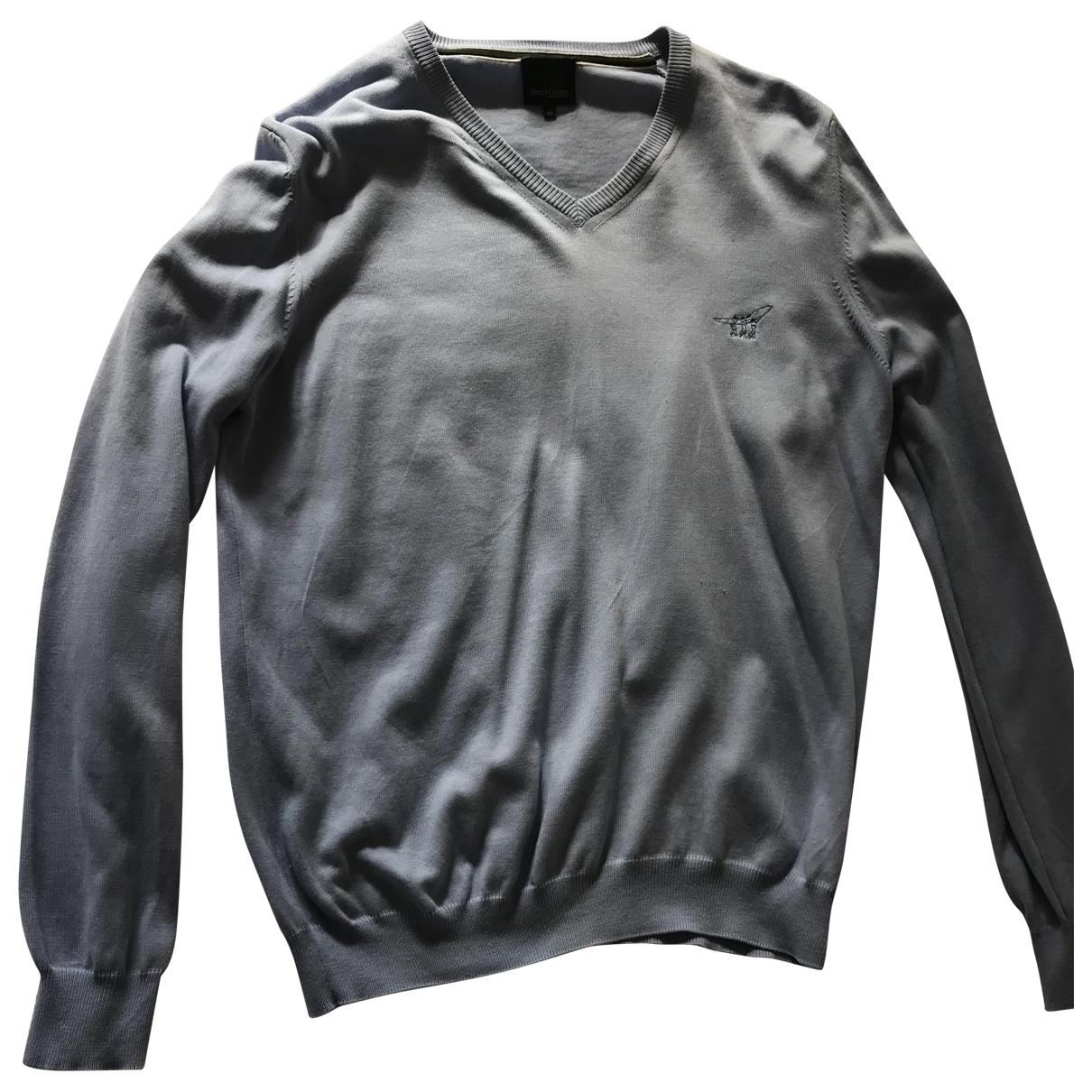 Henry Cotton - Pulls.Gilets.Sweats   pour homme en coton - bleu