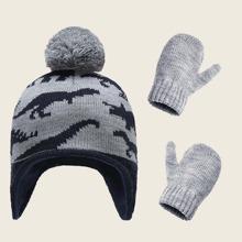 1pc Toddler Kids Warm Hat & 1pair Warm Gloves