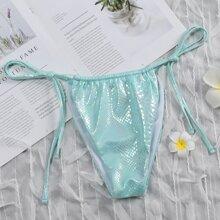 Tanga bikini con cordon de color metalico
