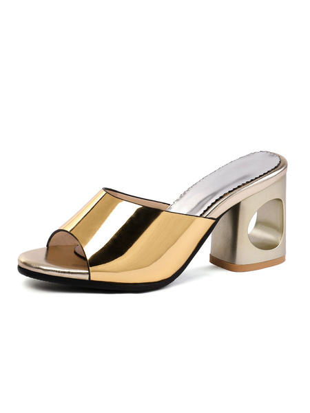Milanoo High Heel Sandals Gold Open Toe Patent PU Backless Sandal Slippers