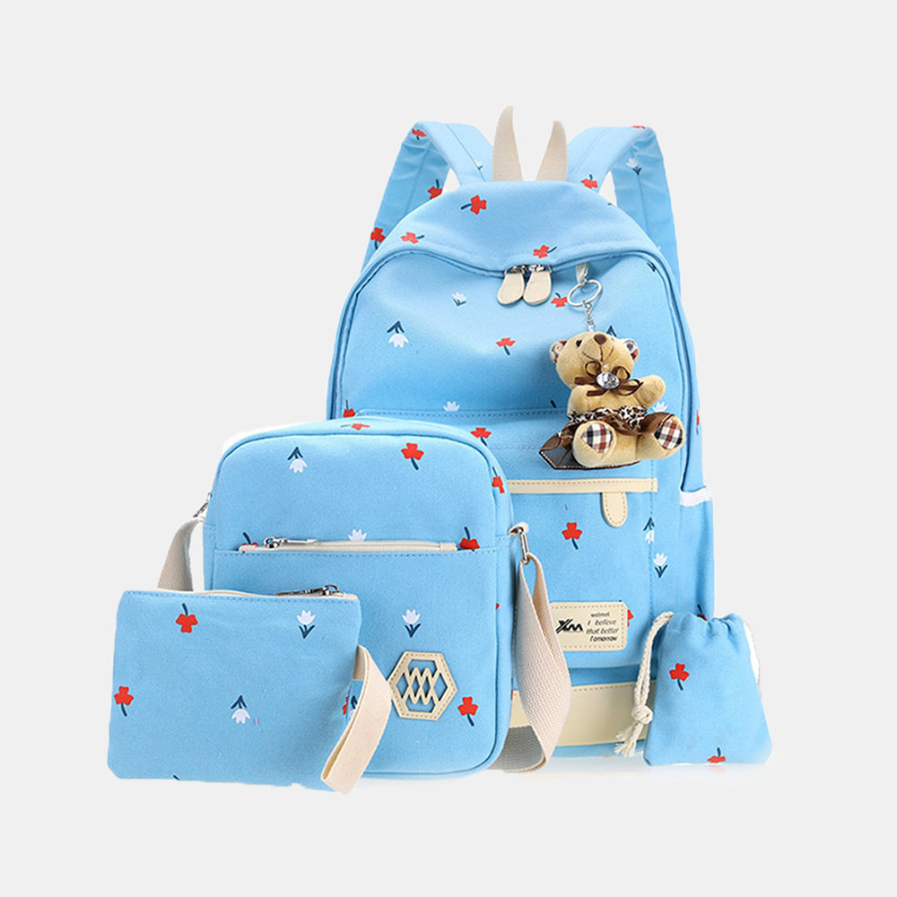 4 Pcs Women's Backpack Set Creative Lovely Small Flower Pattern Casual Bags Set