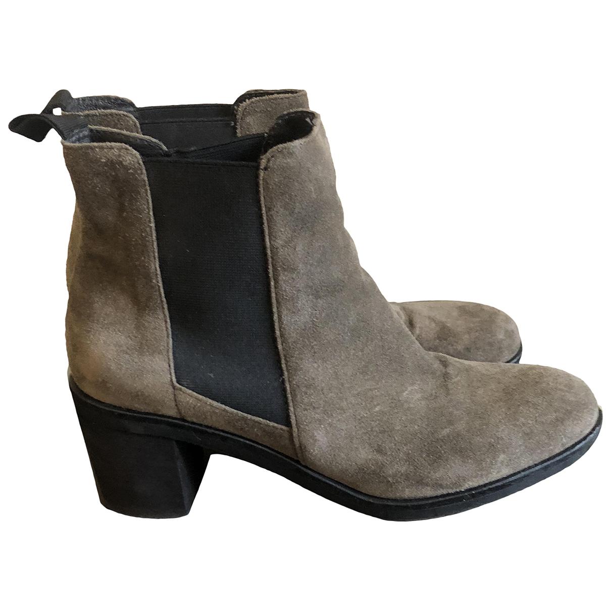 Autre Marque - Boots   pour femme en suede - beige