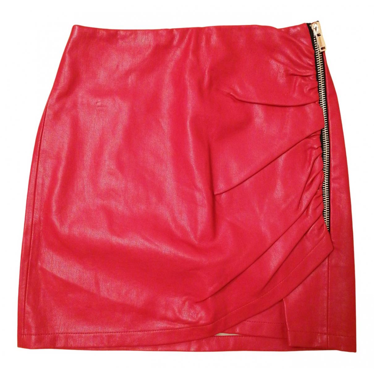 Zara - Jupe   pour femme en cuir - rouge