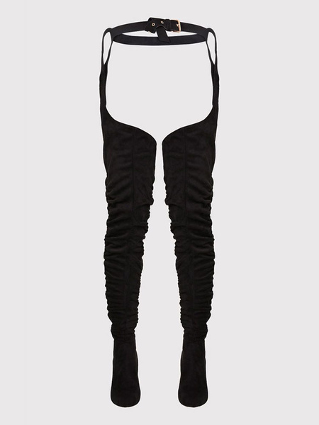 Milanoo Thigh High Boots Womens Micro Suede Black Buckled Round Toe Chunky Heel Boots