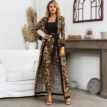 Glamaker Tube Top & Leopard Pants Set With Belted Coat