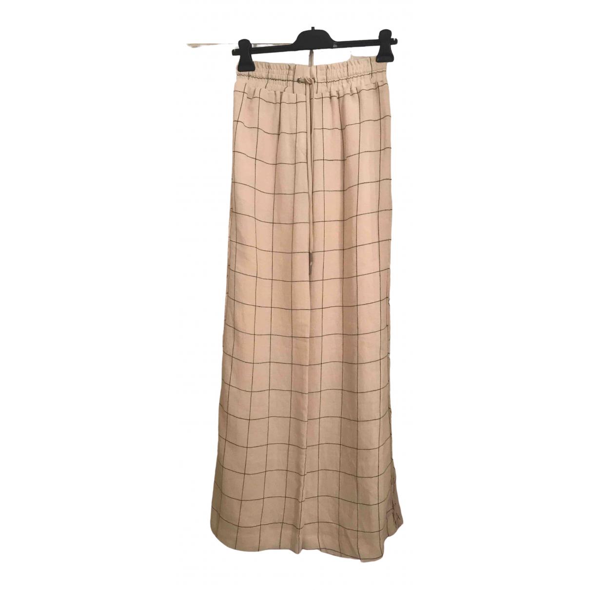Zimmermann \N Ecru Linen Trousers for Women 10 UK