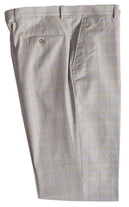 Mens Wool Pinstripe Designed Flat Front Stone Pant