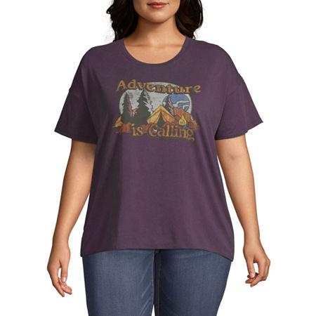 Juniors Plus-Womens Round Neck Short Sleeve T-Shirt, 2x , Black