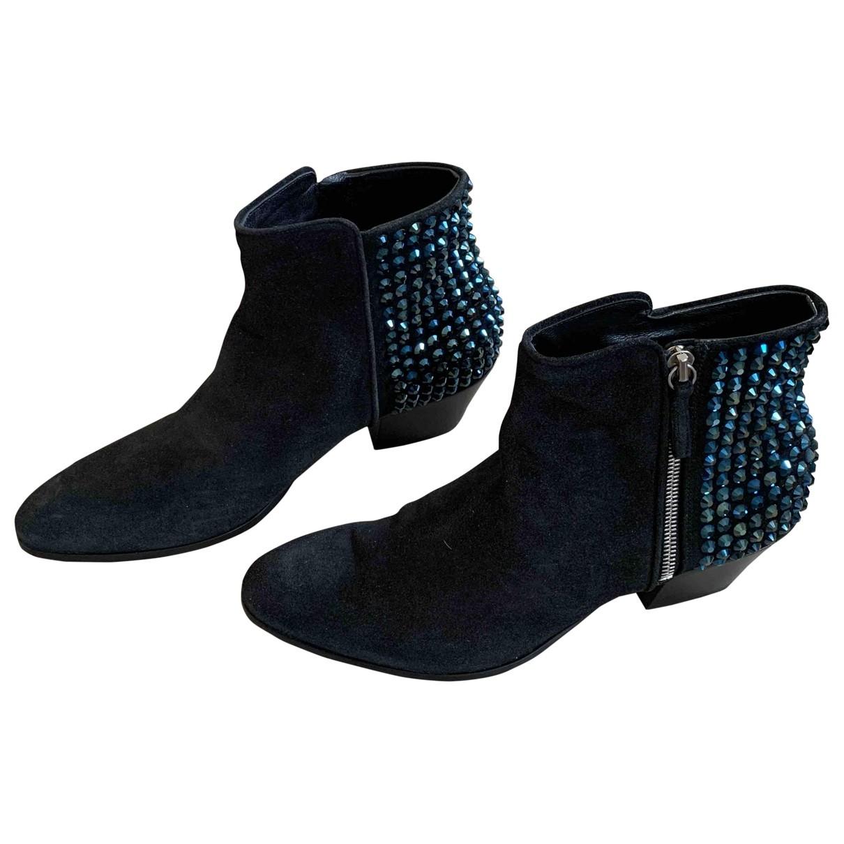 Giuseppe Zanotti - Boots   pour femme en a paillettes - bleu