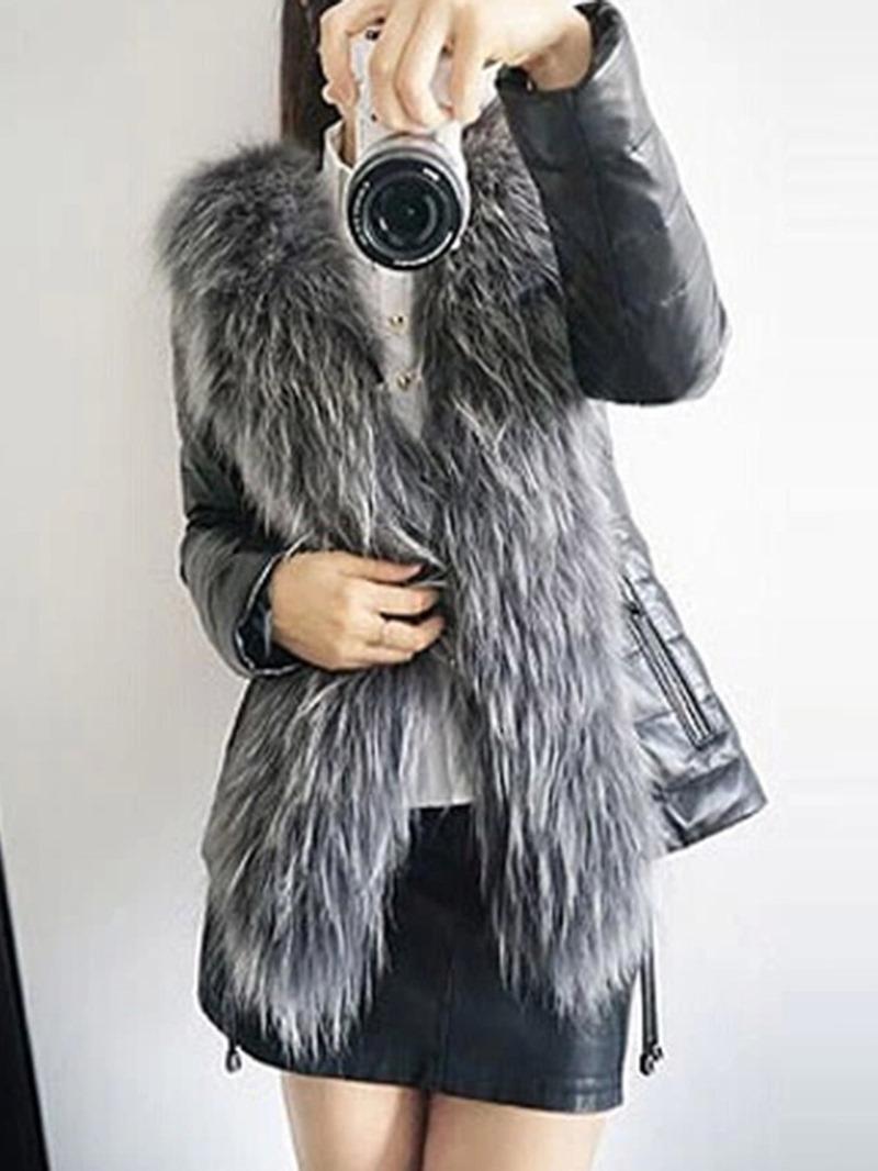 Ericdress Plain Mid-Length Slim Thick Winter Faux Fur Overcoat