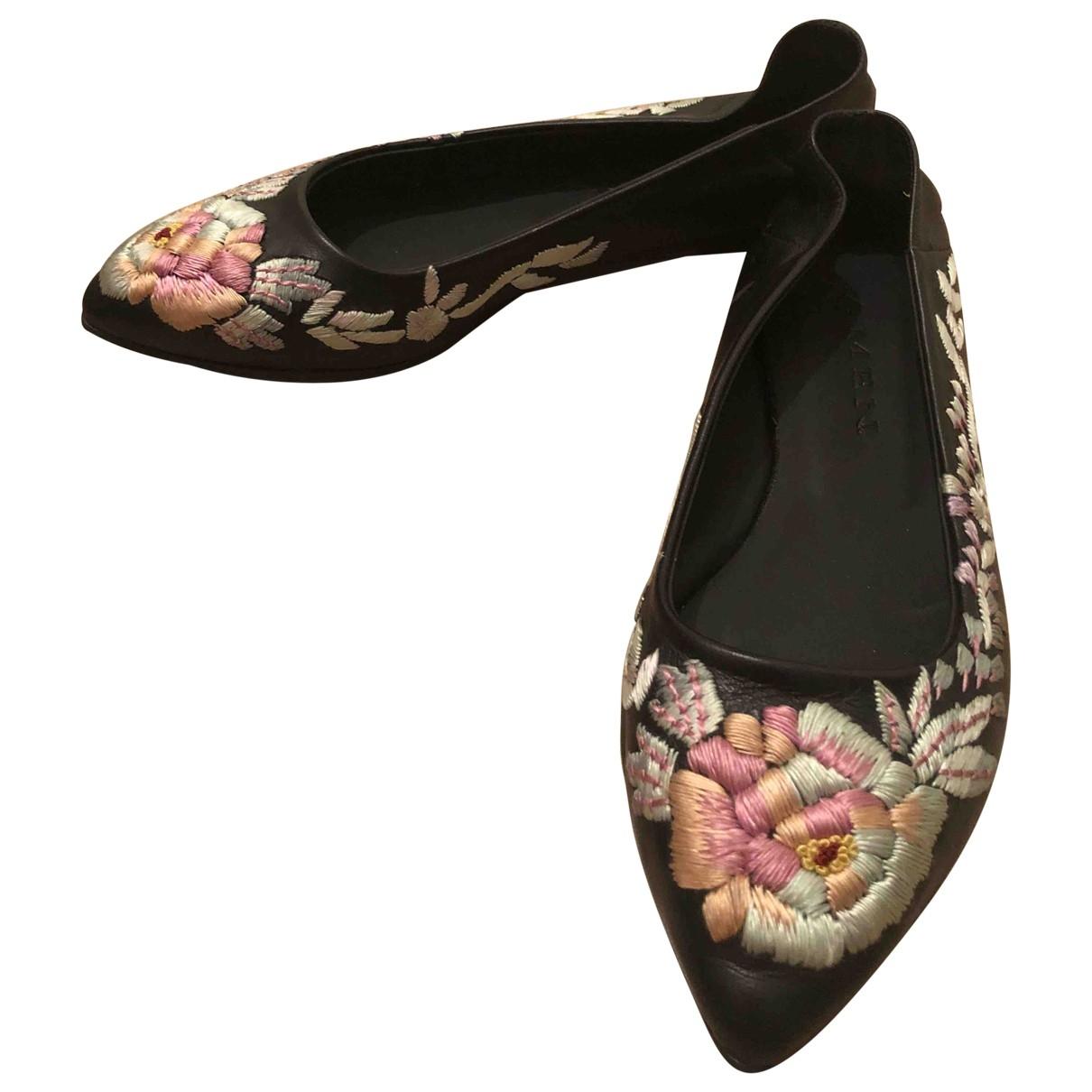 Amen Italy \N Ballerinas in  Schwarz Leder