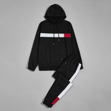 Guys Contrast Panel Drawstring Hoodie With Joggers