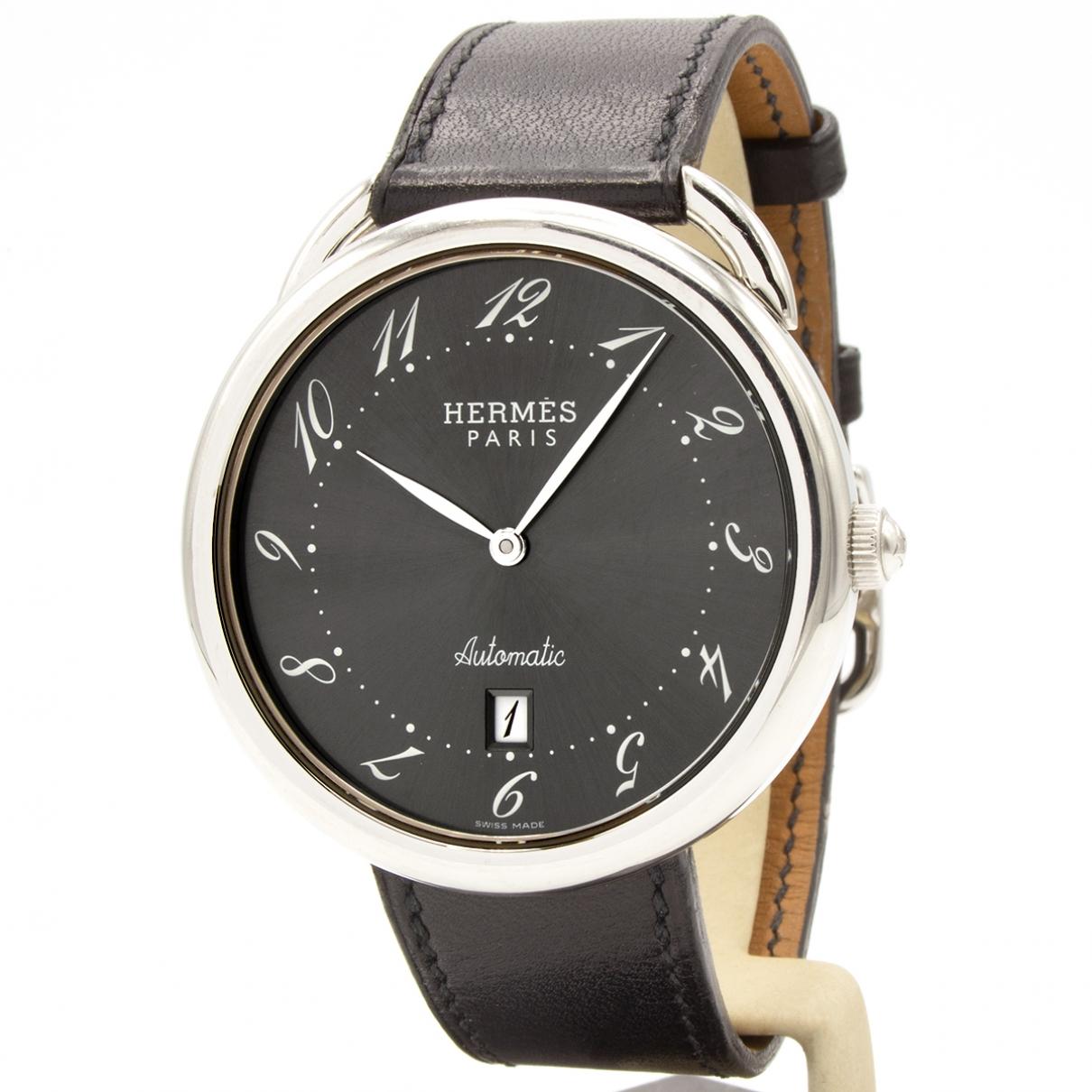 Hermes - Montre Arceau pour homme en acier - noir