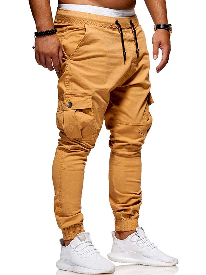 Ericdress Plain Side Pocket Lace-Up Mens Casual Pants