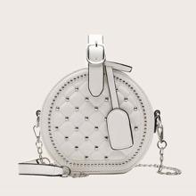 Studded Decor Quilted Satchel Bag