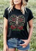 Presale - Day Of The Dead Skeleton Rose T-Shirt Tee - Black