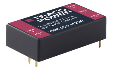 TRACOPOWER THM 15WI 15W Isolated DC-DC Converter Through Hole, Voltage in 18 → 75 V dc, Voltage out ±12V dc