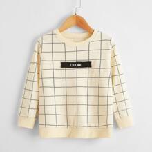 Sweatshirt mit Buchstaben und Karo Muster