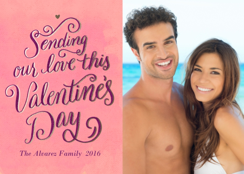 Valentines Cards Flat Glossy Photo Paper Cards with Envelopes, 5x7, Card & Stationery -Shadow Script Valentine