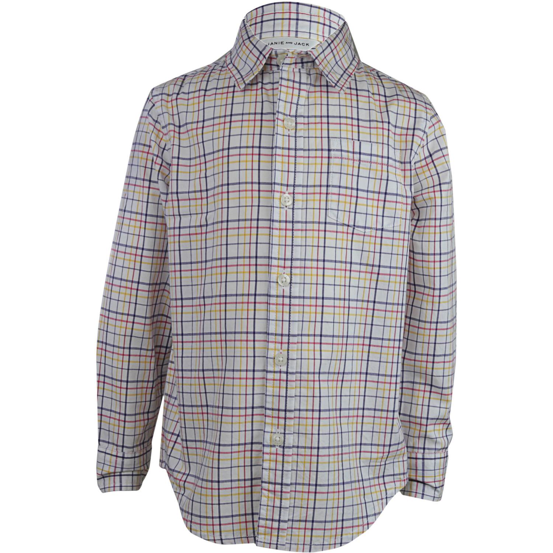 Janie And Jack Boy's Plaid Poplin Shirt Button-Down & Dress - 3-6 Months - White / Navy / Red / Yellow
