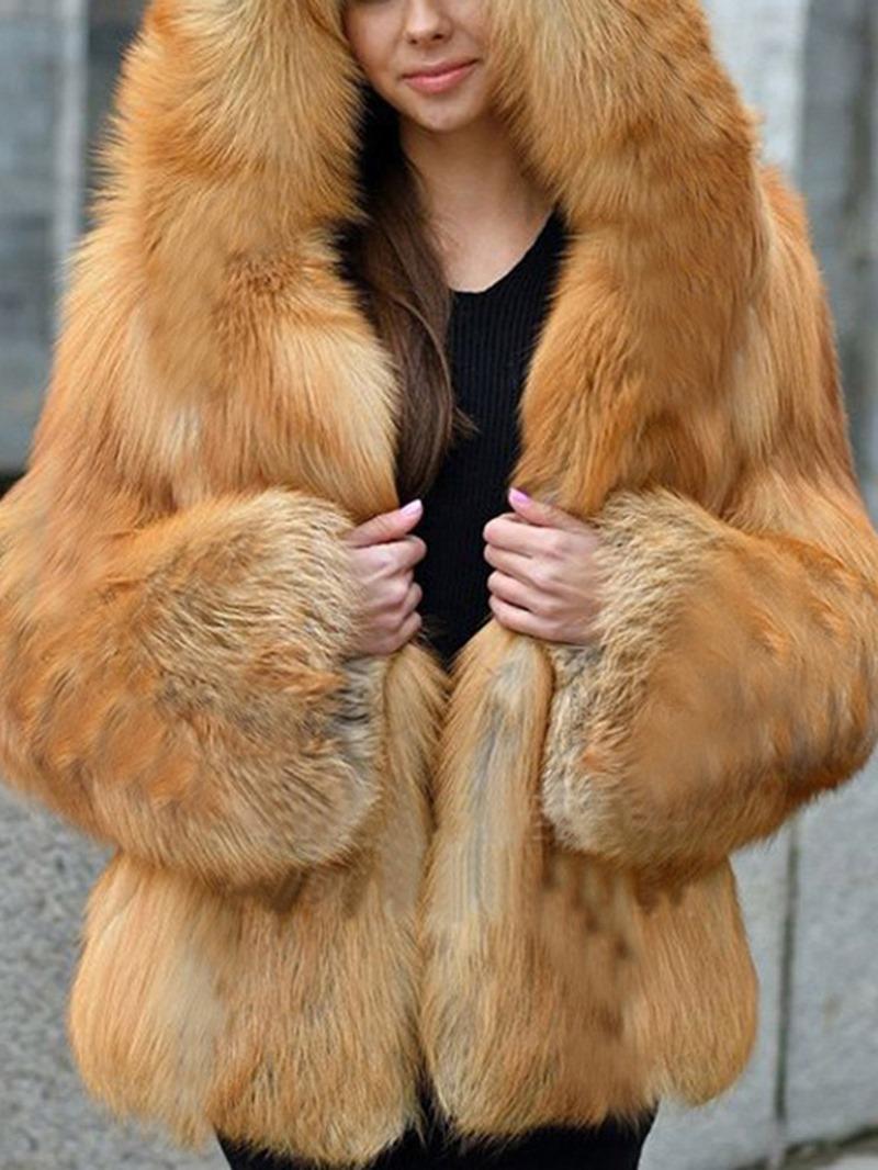 Ericdress Plain Standard Lapel Loose Winter Faux Fur Overcoat