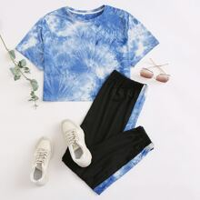 Plus Tie Dye Tee With Contrast Sideseam Joggers