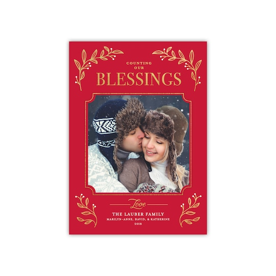 20 Pack of Gartner Studios® Personalized Counting Our Blessings Christmas Photo Card in Red   5