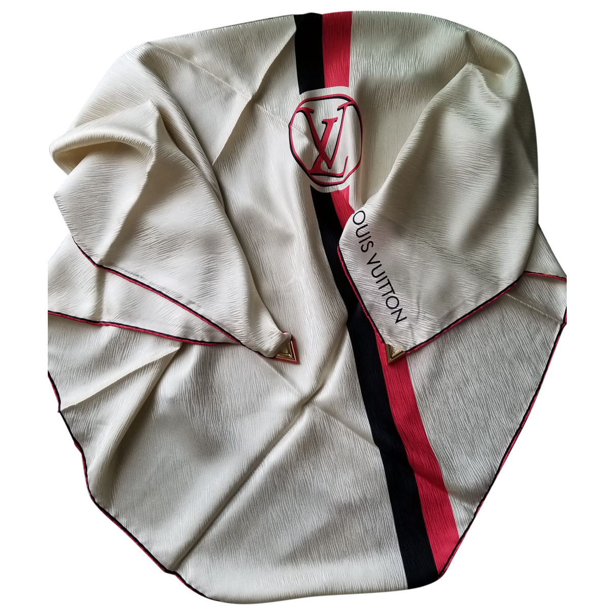 Louis Vuitton - Carre   pour femme en soie - ecru
