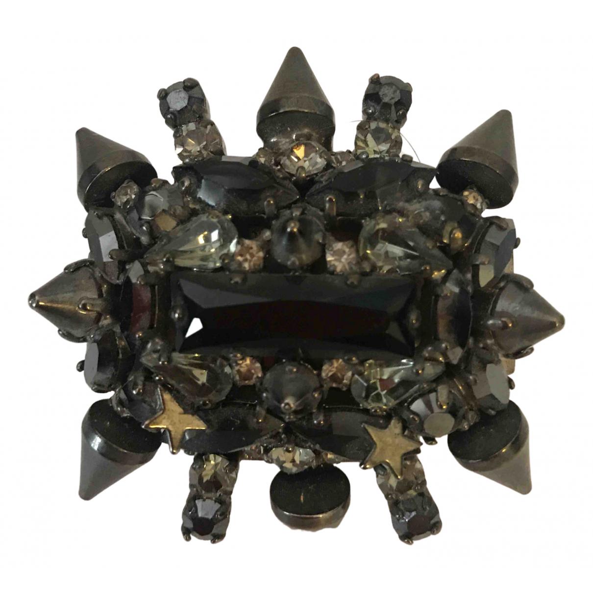 Philipp Plein \N Ring in  Schwarz Metall