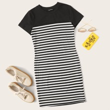 Plus Two Tone Striped Dress