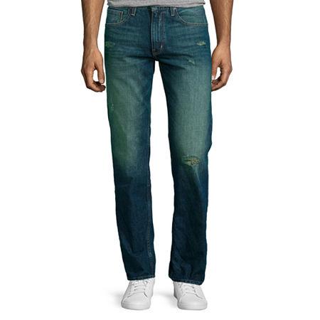Arizona Slim Straight Destructed Jeans, 31 30, Blue