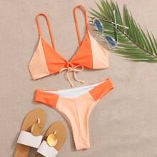 Color Block Tie Front Bikini Swimsuit