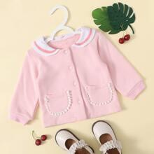 Baby Maedchen Jacke mit Karikatur Muster und einreihigen Knopfen