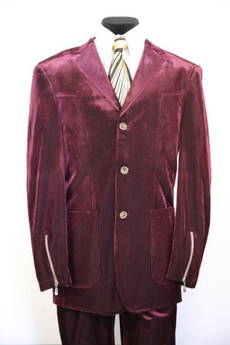 Mens Single Breasted Notch Lapel Red Zoot Suit Patch Pocket