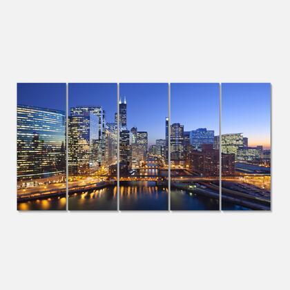 PT10104-401 Chicago River With Bridges At Sunset - Cityscape Canvas Print - 60X28- 5