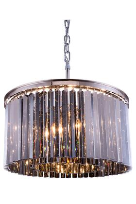 1208D26PN-SS/RC 1208 Sydney Collection Pendent Lamp D: 26 H: 13.5 Lt: 8 Polished nickel Finish (Royal Cut Silver Shade