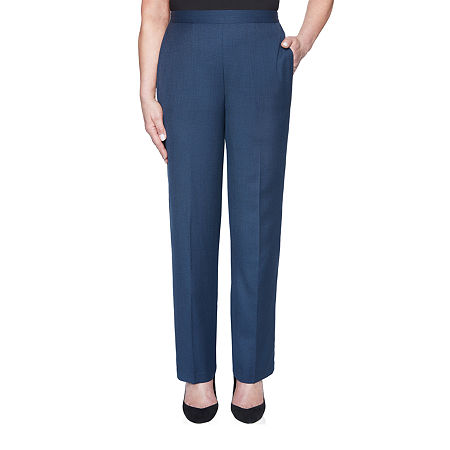 Alfred Dunner Wisteria Lane Womens Straight Pull-On Pants, 16 Petite Short , Blue