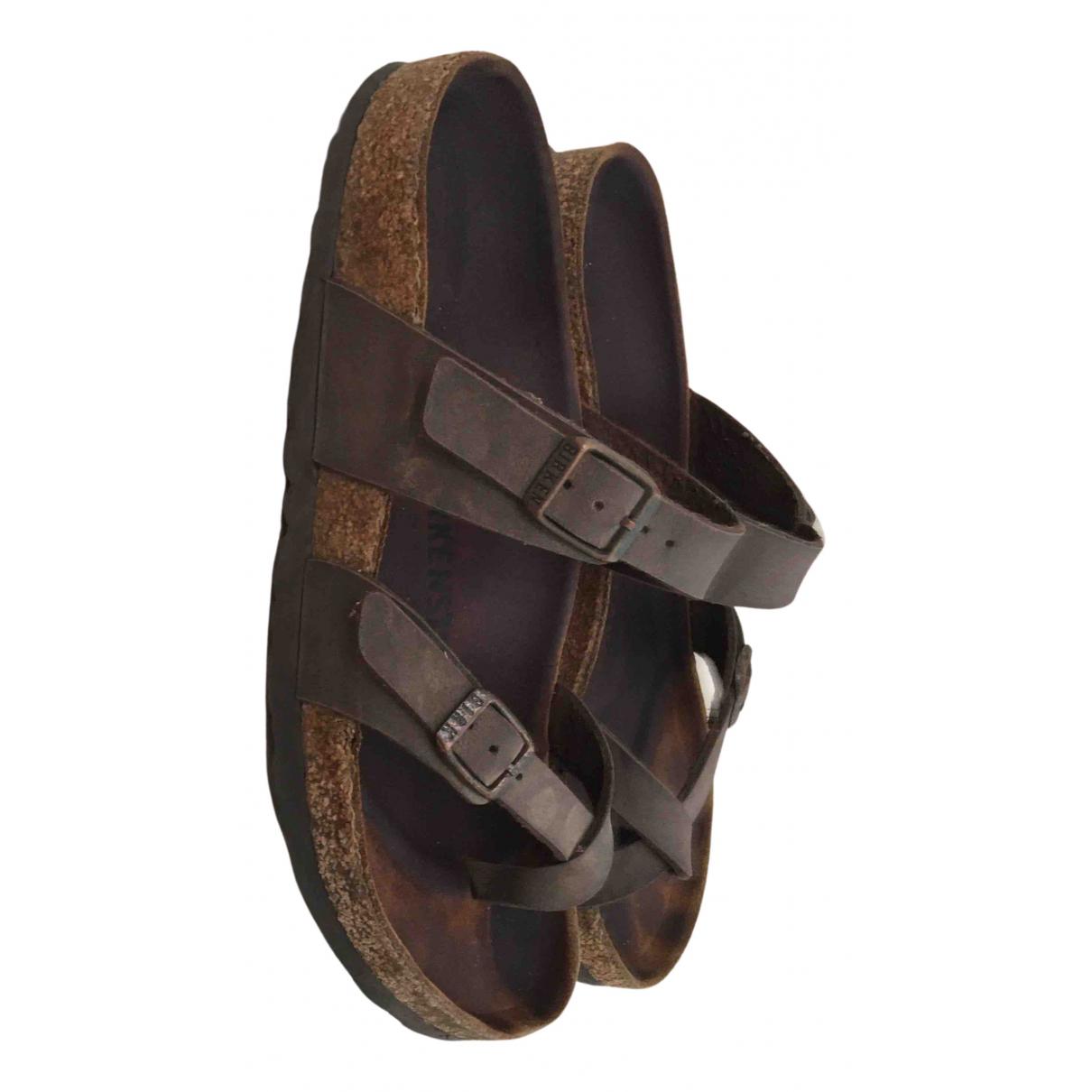 Birkenstock \N Sandalen in  Khaki Leder