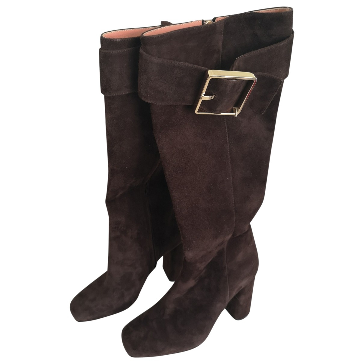 Rochas \N Brown Suede Boots for Women 37 IT