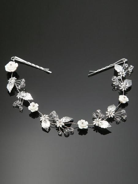 Milanoo Wedding Headpiece Silver Rhinestone Floral Leaf Bridal Hair Band