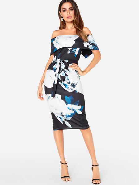 Yoins Random Floral Print Off The Shoulder Slit Hem Dress with Belt Design