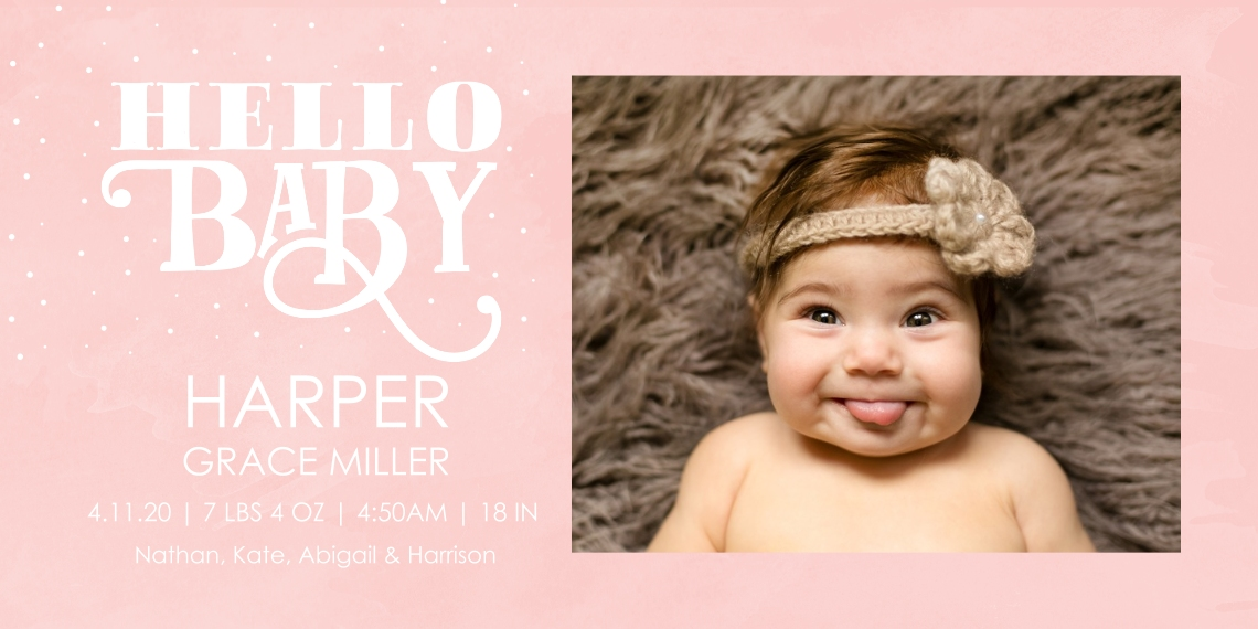 Baby Girl Announcements Flat Matte Photo Paper Cards with Envelopes, 4x8, Card & Stationery -Typography Baby Pink