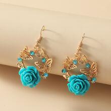 Ohrringe mit Blumen & Schmetterling Dekor