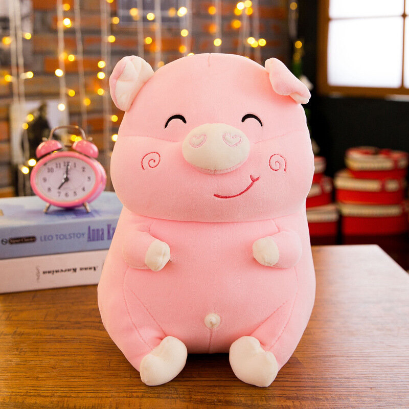30/40/50cm Crystal Velvet Pig Pillow Smile Face Cotton Fabric Stuffed Pig toys Child Gifts