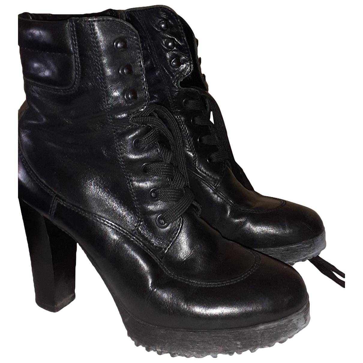 Hogan - Boots   pour femme en cuir - noir